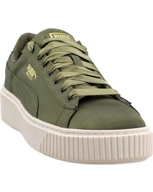 best sneakers 3fedc 39724 Women's Green Basket Platform Satin