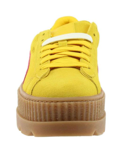 low priced 6ea92 3e75e Women's Yellow Fenty By Rihanna Suede Cleated Creeper