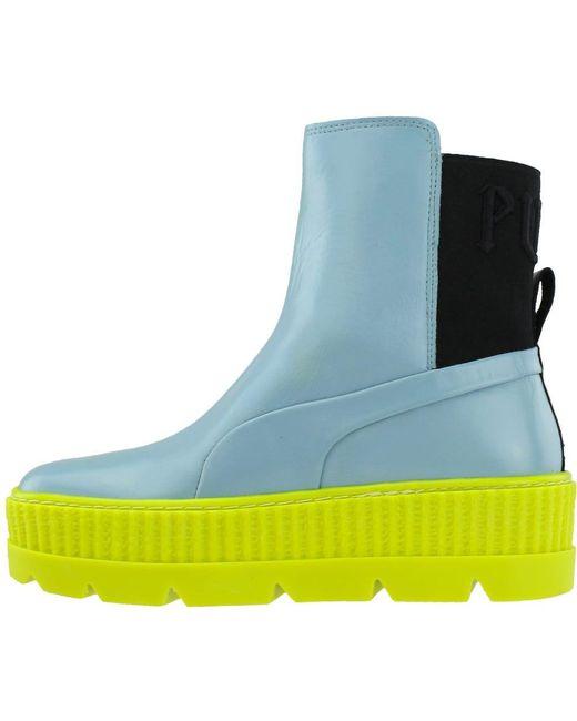 info for 4c524 d52f2 Women's Blue Fenty By Rihanna Chelsea Sneaker Boot