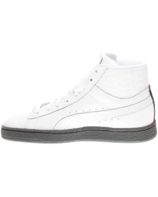 sale retailer a1385 2a57e Men's White Basket Classic Mid Emboss Junior