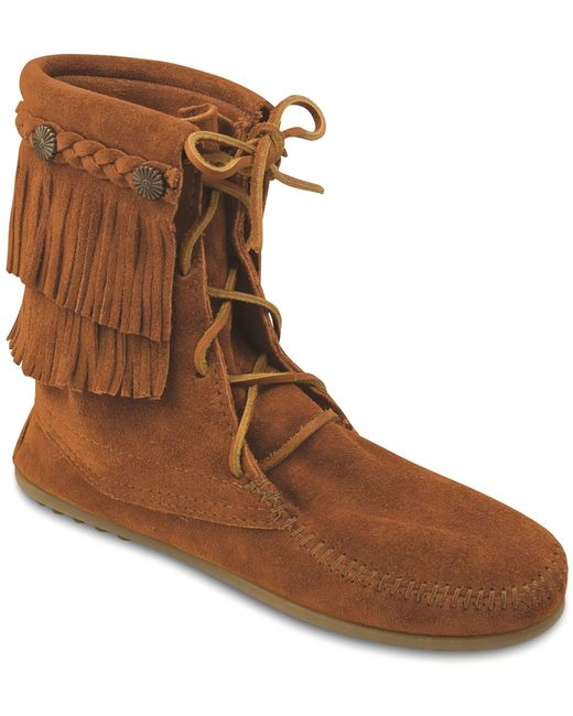 Minnetonka Brown Double Fringe Front Lace Boot