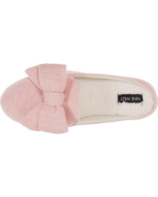 7da8935782e ... Nine West - Pink Loafer Scuff Slipper With Bow And Terry Sock - Lyst ...