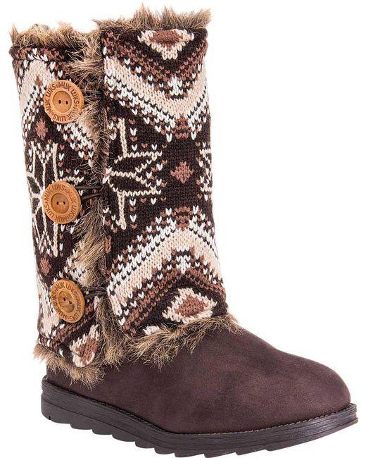 Muk Luks | Brown Reversible Andrea Sweater Boot | Lyst