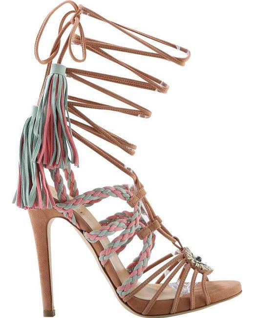 Gedebe - Multicolor Corrinne Suede Stiletto Heel Tassel Sandal - Lyst