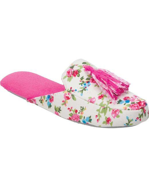 Dearfoams - Pink Tassel Scuff Slipper - Lyst