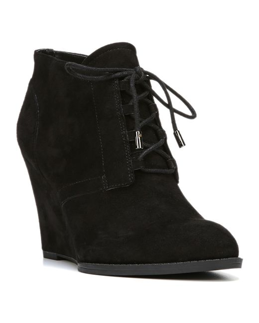 franco sarto lennon suede wedge boots in black save 53