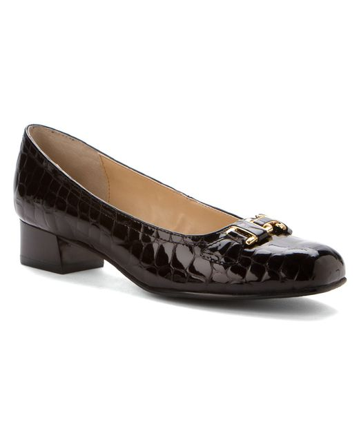 walking cradles lillian in black black croc patent