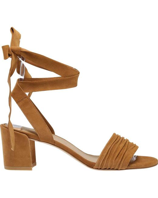 Stuart Weitzman - Natural Swifty Suede Ankle-tie Sandal - Lyst