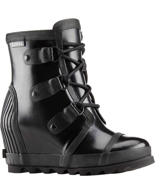 Sorel - Black Joan Rain Wedge Gloss Boot - Lyst