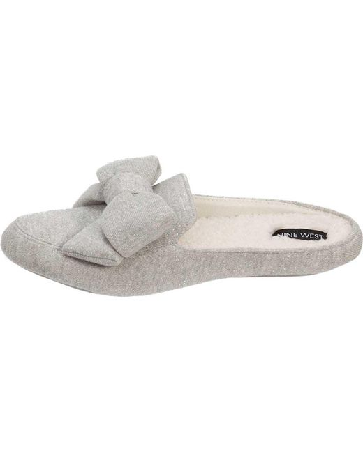 00d6c94e003 ... Nine West - Gray Loafer Scuff Slipper With Bow And Terry Sock - Lyst ...
