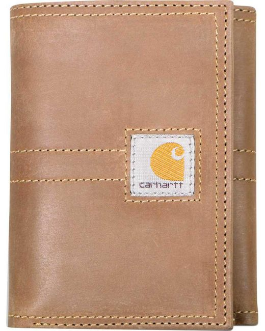 Carhartt - Brown Legacy Trifold Full Grain Leather Wallet for Men - Lyst
