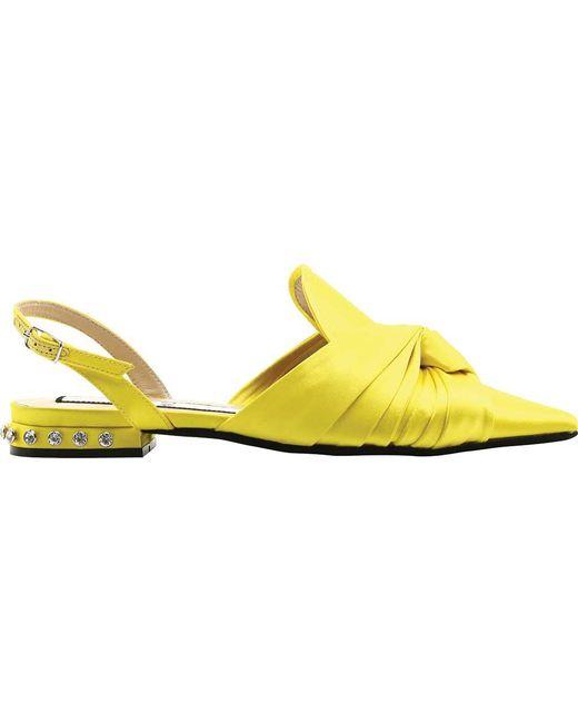 18f8a8add5882e N°21 - Yellow Knot Crystal Satin Slingback - Lyst ...