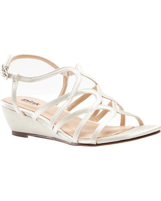 Paradox London Pink White Opulent Wedge Sandal