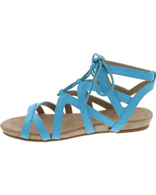 126b3b6d67f ... Bellini - Blue Nickel Lace Up Gladiator Sandal - Lyst ...