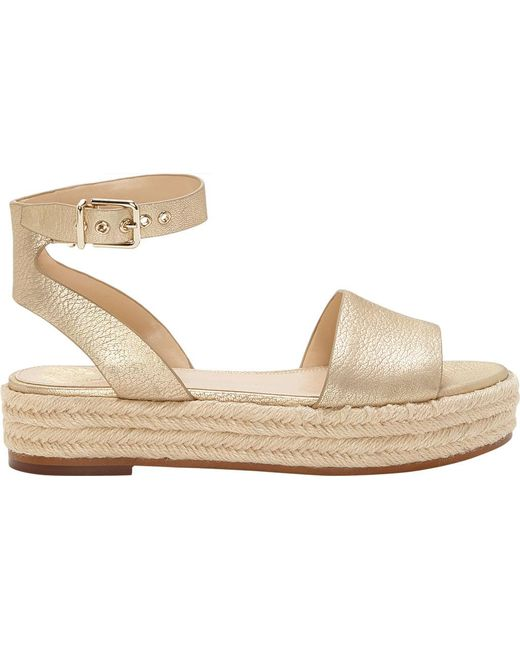 67a27bb58b51 ... Vince Camuto - Kathalia Metallic Leather Flatform Espadrille Sandals -  Lyst ...