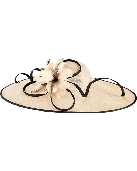 San Diego Hat Company - Natural Oversized Fascinator With Feather Tie Drs1016 - Lyst