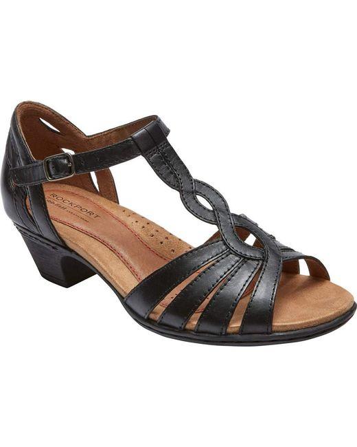 eee3e32b752 Lyst - Rockport Cobb Hill Abbott Curvy T-strap Sandal in Black - Save 5%
