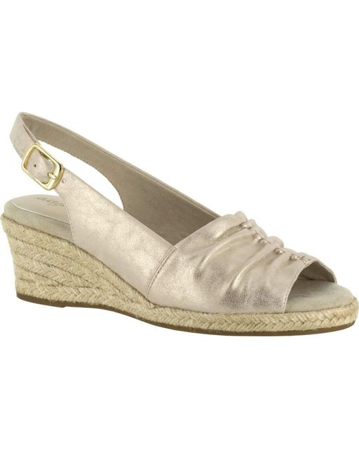 Easy Street Kindly Espadrille Slingback(Women's) -Blue Metallic Print Synthetic Cheap Sale 100% Original Cheap Online Store Manchester Comfortable For Sale 100% Original For Sale Sale Recommend TGak46uv