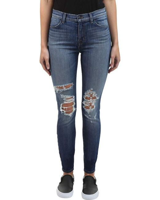 Maria High Rise Skinny Jeans With Distressed Knee And Hem - Revoke destruct blue J Brand GS9pw