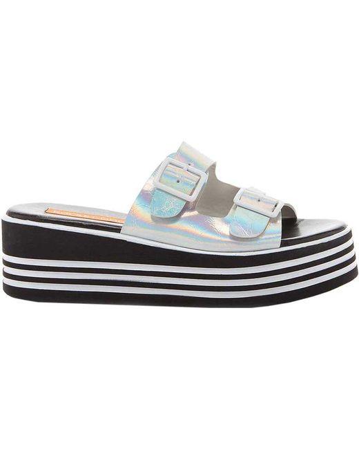 Rocket Dog Zanter Platform Slide Sandal(Women's) -Black Striped PU Fashionable 1oB1AM