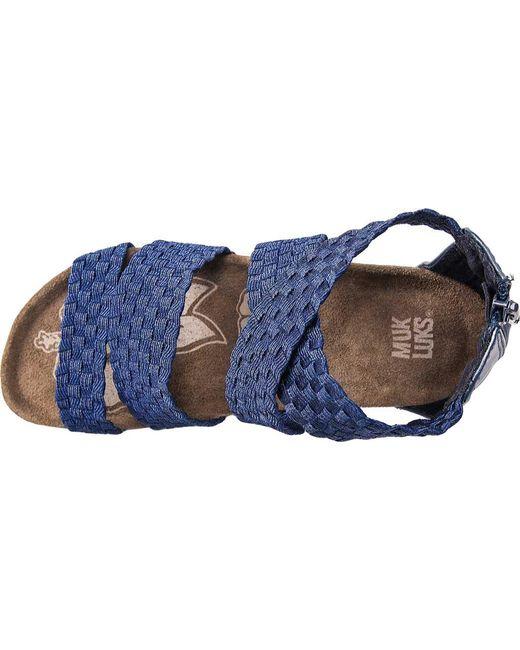 aaa48b2f8743 ... Muk Luks - Blue Elle Wedge Sandal - Lyst ...