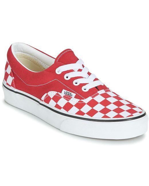 Chaussures Checkerboard Era Toile Vans en coloris Rouge - 67 % de ...
