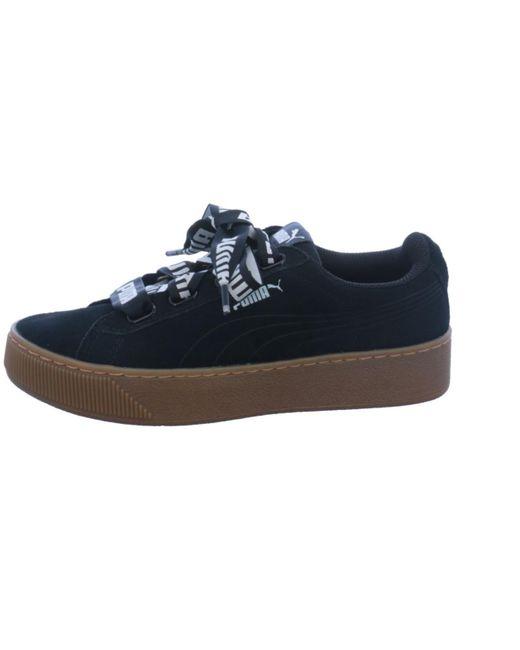 Puma Vikky Platform Ribbon Bold Leather Sneaker Damen Schuhe