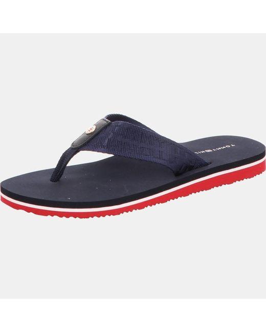 Tommy Hilfiger Blue Flat Logo Strap Sandals