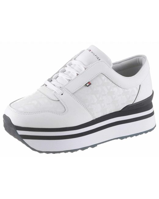 Tommy Hilfiger Wo Trainers White Tommy Jacquard Flatform Sneaker Fw0fw04680
