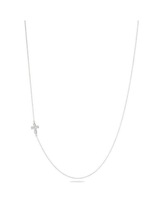 Adina Reyter - Metallic Solid Pave Cross Necklace - Lyst