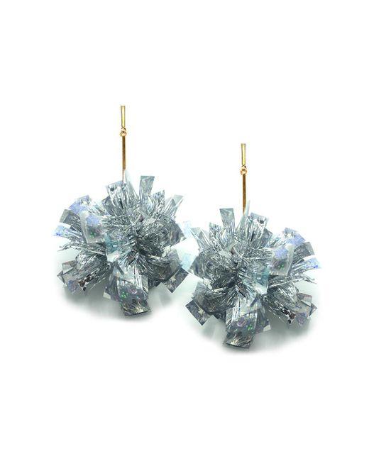 """Tuleste - Metallic 4"""" Silver Lurex Pom Pom Earrings - Lyst"""