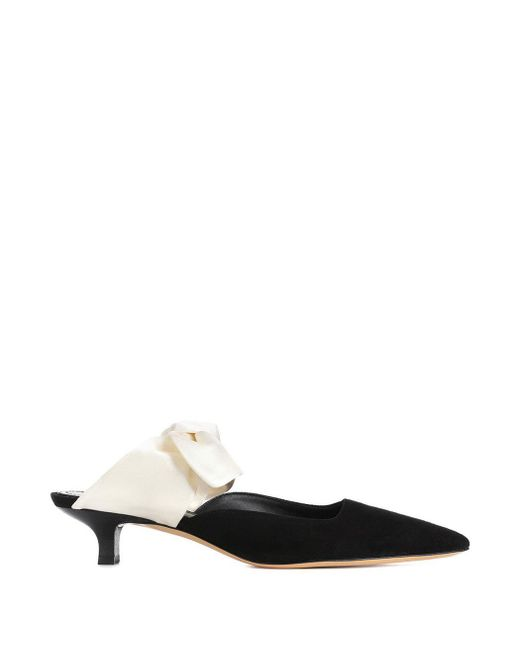 The Row - Black Coco Suede Satin Mules - Lyst