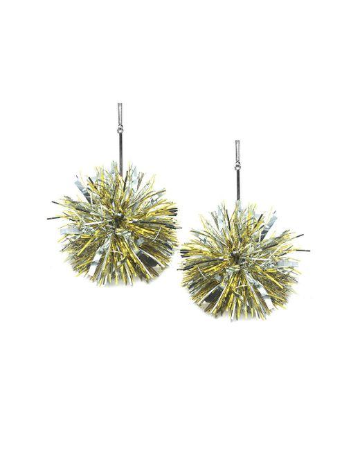 "Tuleste - Metallic 4"" Gold And Silver Lurex Pom Pom Earrings - Lyst"