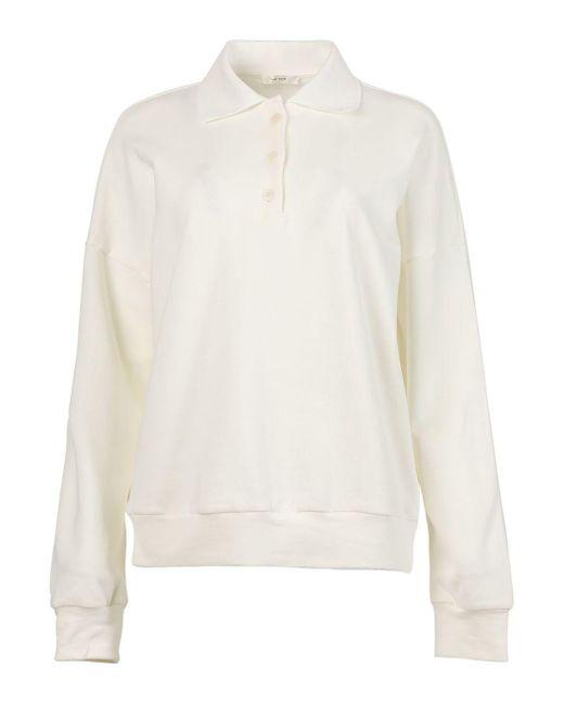 The Row White Oversized Corzas Polo Shirt, Seashell