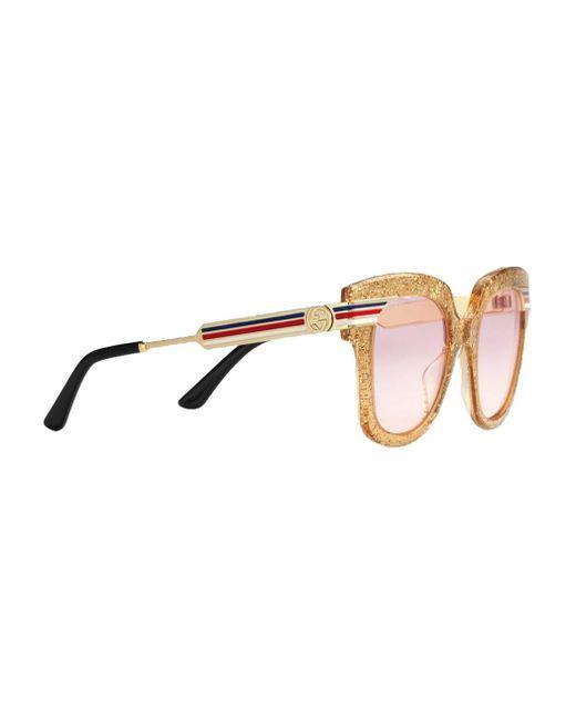 1333e5312f4aa ... Gucci - Multicolor Square-frame Glitter Acetate Sunglasses - Lyst