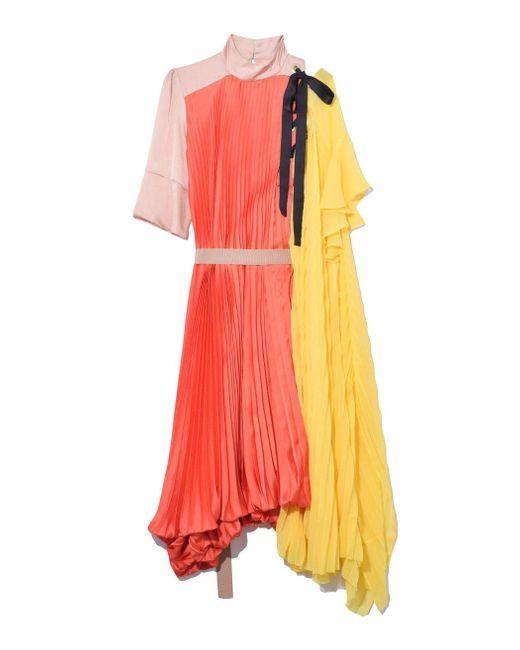 Sacai Satin Pleated Dress In Orange/yellow