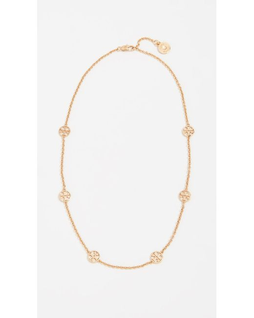 Tory Burch - Metallic Delicate Logo Necklace - Lyst