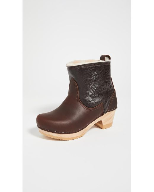 No. 6 Brown Pull On Shearling Mid Heel Boots