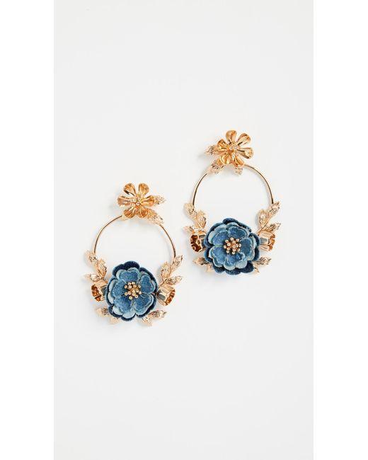 Kate Spade - Blue Flower Child Door Knocker Earrings - Lyst