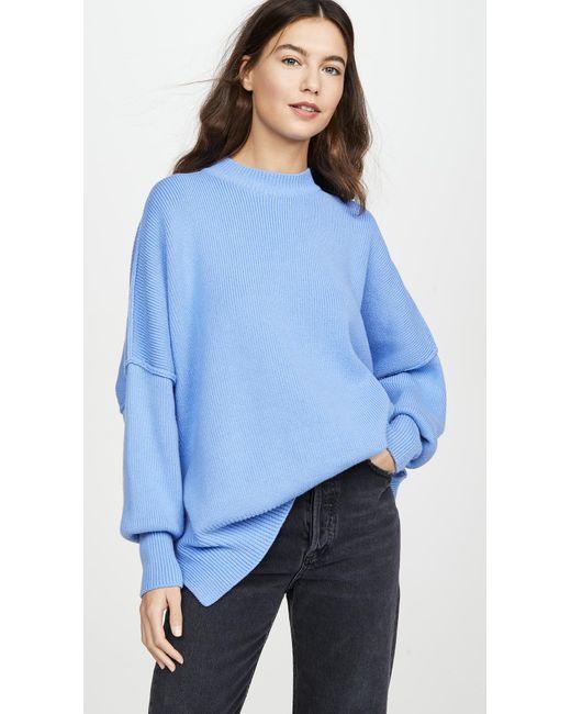 Free People Blue Easy Street Tunic Sweater