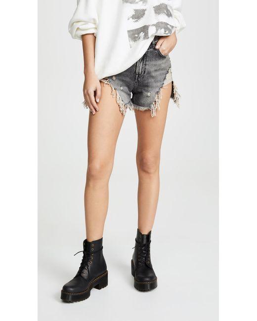 R13 Black Shredded Slouch Shorts