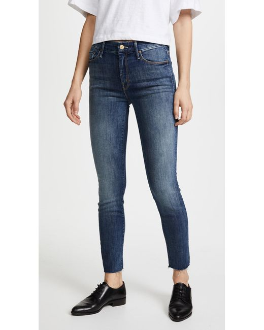 Mother - Blue High Waisted Looker Ankle Fray Jeans - Lyst