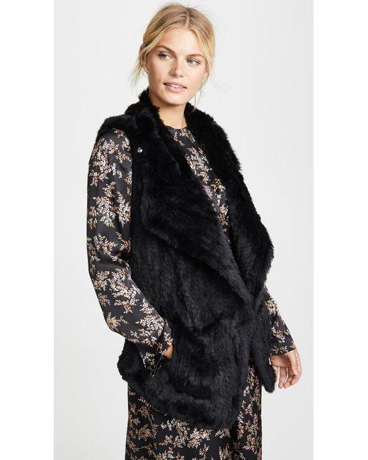 June - Black Asymmetric Fur Vest - Lyst