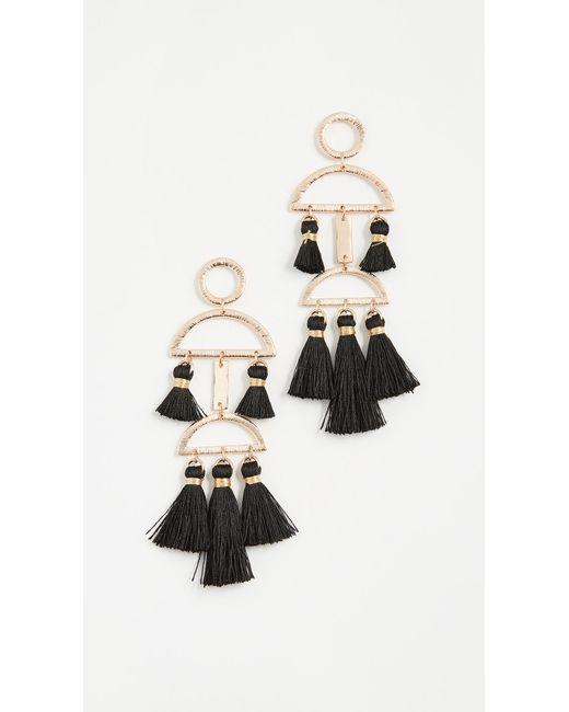 Shashi | Black Alicia Tassel Earrings | Lyst