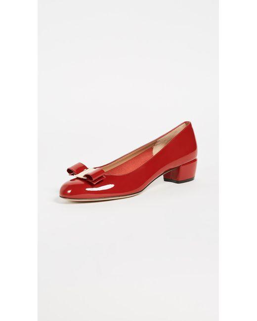 063939005acf Ferragamo - Red Vara Low Heel Pump - Lyst ...
