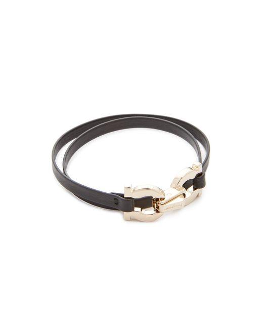 Ferragamo - Black Double Gancio Wrap Bracelet - Lyst