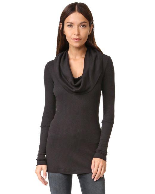 Splendid - Black Thermal Long Sleeve Cowl Neck - Lyst