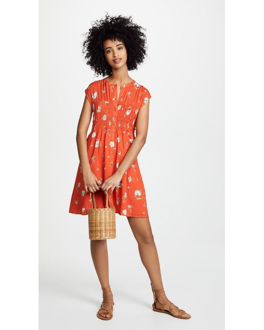 a3a5546fd816 ... Free People - Red Greatest Day Smocked Mini Dress - Lyst ...