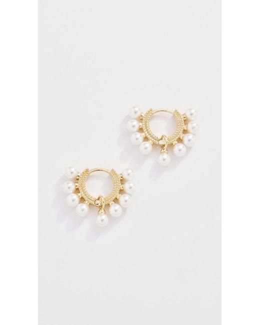 Shashi - Metallic Lola Pearl Huggie Earrings - Lyst