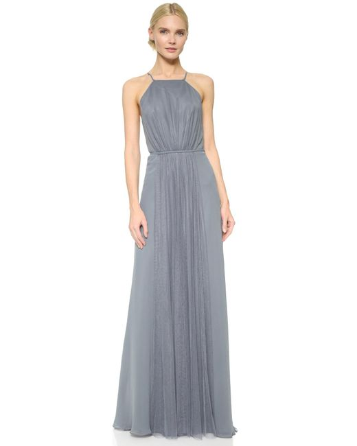 Monique Lhuillier Bridesmaids | Gray Halter Dress With Tulle Panel | Lyst